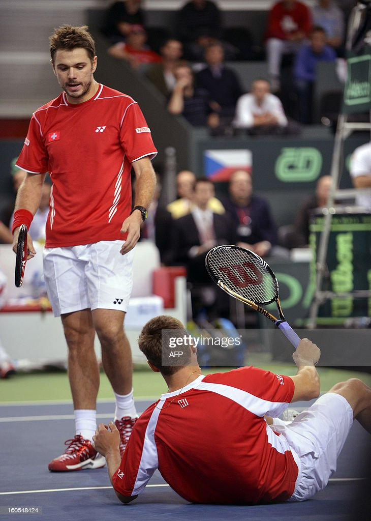 Swiss players Stanislas Wawrinka (L) and Marco Chiudinelli are seen during a match against Czech pair Tomas Berdych and Lucas Rosol in the Davis Cup Group first round tennis match on February 2, 2013 in Geneva. The Czech Republic's Tomas Berdych and Lukas Rosol defeated Stanislas Wawrinka and Marco Chiudinelli of Switzerland 6-4, 5-7, 6-4, 6-7 (3/7), 24-22 in the longest Davis Cup rubber of all time.