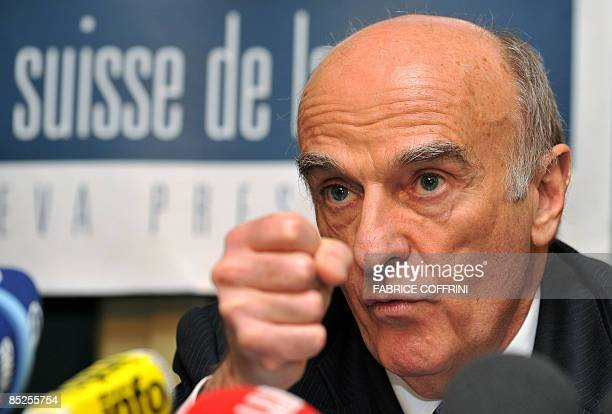 Swiss President and Finance Minister HansRudolf Merz gestures during a press conference on the financial crisis banking secrecy and international...