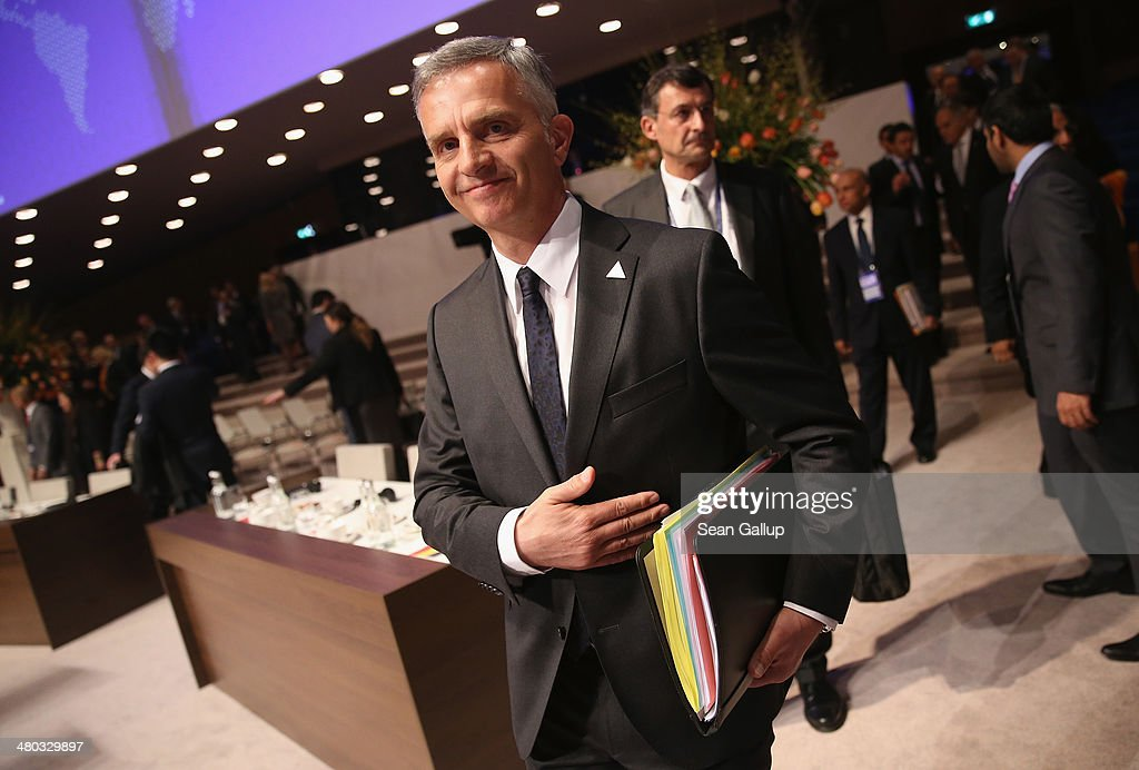 Swiss President Didier Burkhalter arrives for the opening plenary session of the 2014 Nuclear Security Summit on March 24, 2014 in The Hague, Netherlands. Leaders from around the world have come to discuss matters related to international nuclear security, though the summit is overshadowed by recent events in Ukraine. The leaders of the G7 nations will hold a short G7 summit tonight.