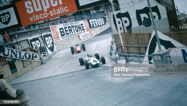 Swiss racing driver Peter Korda drives the Brabham BT21 Ford followed by American racing driver Mike Campbell in the Titan Mk 3 Ford/Lucas during the...