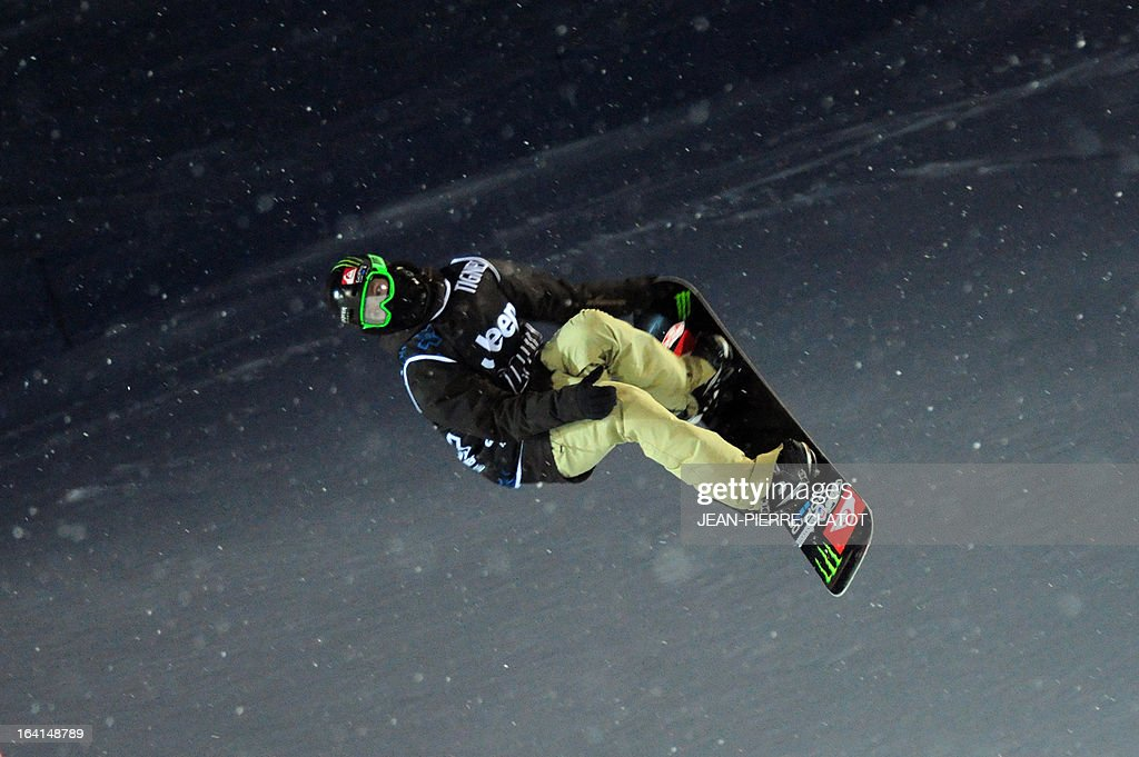 Swiss rider Iouri Podladtchikov competes in the Men's Snowboard Superpipe qualification of the European Winter X-Games, on March 20, 2013 in the ski resort of Tignes, French Alps.