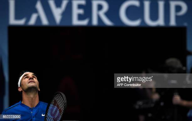 Swiss Roger Federer of Team Europe reacts as he plays against US Sam Querrey of Team World during second day of Laver Cup on September 23 2017 in O2...