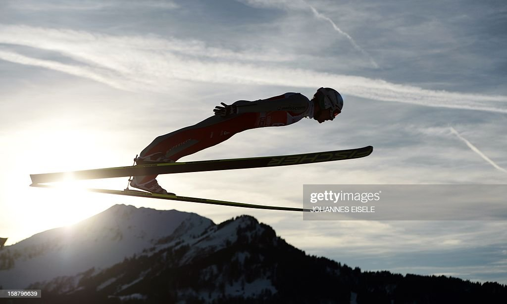 Swiss Simon Amman vies during a qualification of the Four-Hills-Tournament (Vierschanzentournee) in Oberstdorf, southern Germany on December 29, 2012. The first competition of the jumping event takes place in Oberstdorf, before the tournament continues in Garmisch-Partenkirchen, Germany, in Innsbruck (Austria) and in Bischofshofen (Austria).