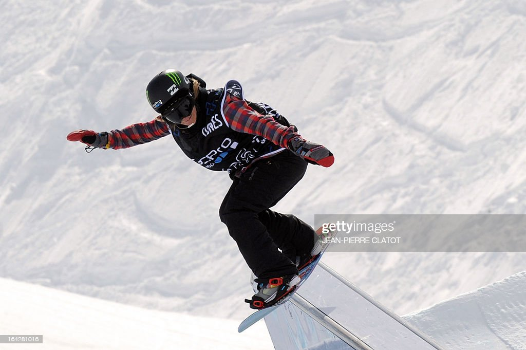 Swiss Sina Candrian competes during the Women's Snowboard Slopestyle final of the European Winter X-Games, on March 22, 2013 in the ski resort of Tignes