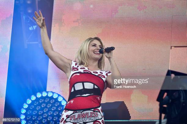 Swiss singer Beatrice Egli performs live during the show 'Die Schlagernacht des Jahres' at the Waldbuehne on June 17 2017 in Berlin Germany