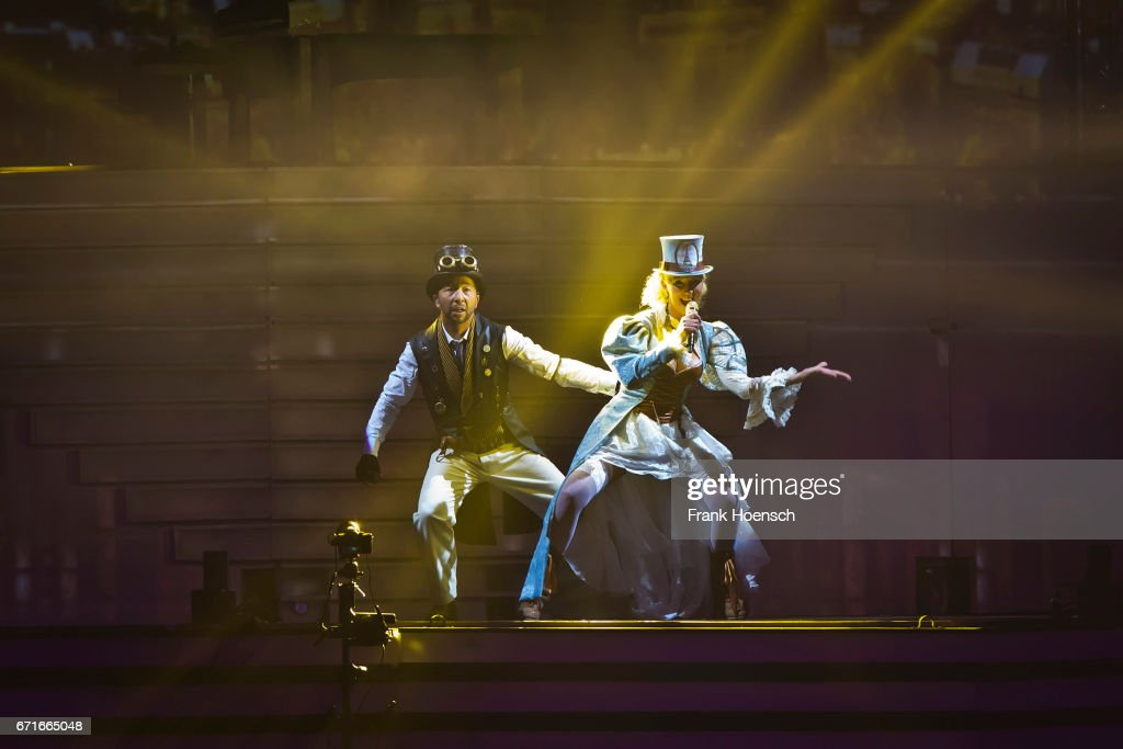 Swiss singer DJ Bobo (L) performs with his wife Nancy Baumann live during a concert at the Mercedes-Benz Arena on April 22, 2017 in Berlin, Germany.