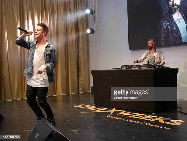Swiss singer Luca Haenni and DJ Christopher S sighted performing at the Alexa shopping center on May 8 2014 in Berlin Germany