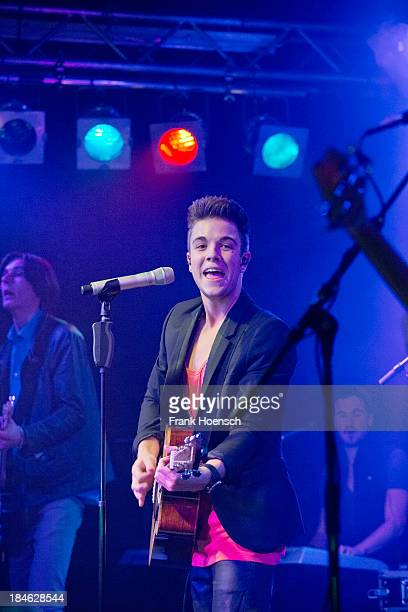 Swiss singer Luca Haenni performs live during a concert at the Frannz on October 14 2013 in Berlin Germany