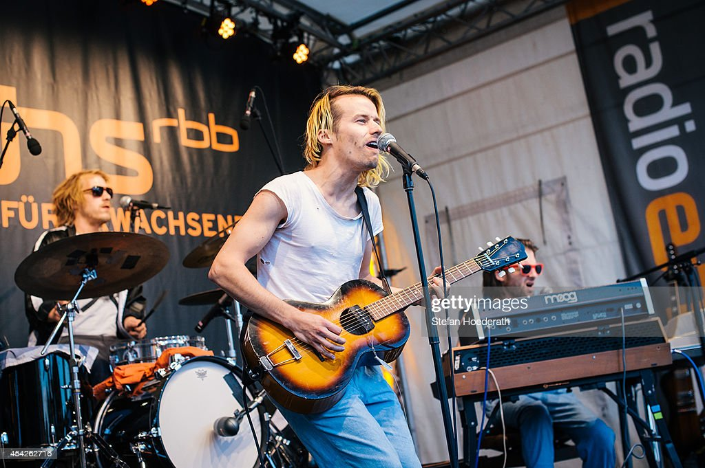 Swiss singer Tobias Jundt of Bonaparte performs live on stage during a concert at Radio Eins Parkfest on August 27, 2014 in Berlin, Germany.