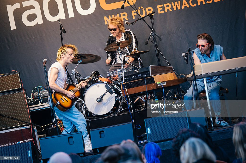 Swiss singer Tobias Jundt (L) of Bonaparte performs live on stage during a concert at Radio Eins Parkfest on August 27, 2014 in Berlin, Germany.