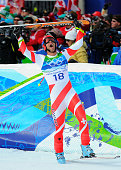 Swiss skier Didier Defago celebrates his gold medal run during the mens downhill at Whistler on Day 4 of the Vancouver 2010 Winter Olympics
