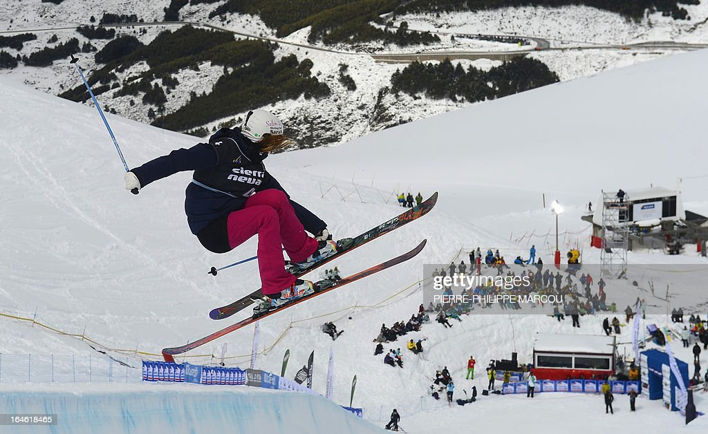 Swiss skier Mirjam Jaeger competes during the Ladies' Ski Halfpipe race at the World Cup Super finals Snowboard and FreeStyle at Sierra Nevada ski resort near Granada on March 25, 2013.