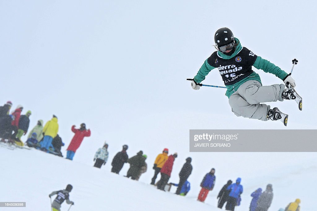 Swiss skier Nils Lauper takes part in a Half Pipe training session at the Snowboard and FreeStyle World Cup Super finals at Sierra Nevada ski resort near Granada on March 24, 2013.