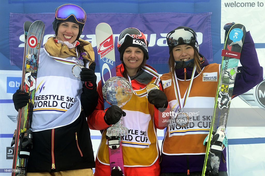 Swiss skier Virginie Faivre (C), Canadian skier Rosalind Groenewoud (L) and Japanese skier Ayana Onozuka pose on podium of the Half Pipe World Cup Overall standing at the Snowboard and FreeStyle World Cup Super finals at Sierra Nevada ski resort near Granada on March 25, 2013. Swiss skier Virginie Faivre won the World Cup ahead of Canadian skier Rosalind Groenewoud and Japanese skier Ayana Onozuka.