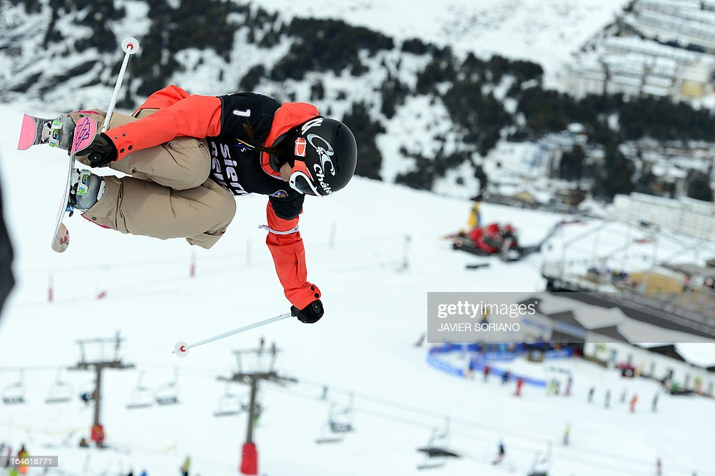Swiss skier Virginie Faivre competes in the Ladies' Half Pipe race at the Snowboard and FreeStyle World Cup Super finals at Sierra Nevada ski resort near Granada on March 25, 2013. Canadian skier Rosalind Groenewoud won the race ahead of Swiss skier Virginie Faivre and Japanese skier Ayana Onozuka.