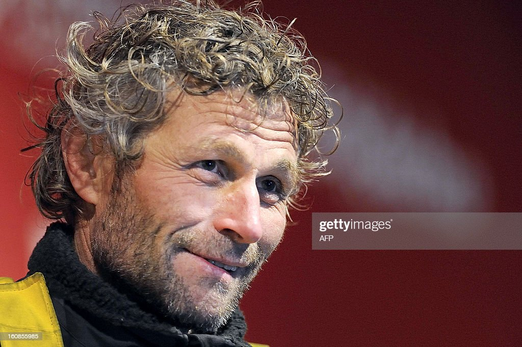 Swiss skipper Bernard Stamm reacts upon his arrival on February 6, 2013 in Les Sables d'Olonne, western France, after ending the 7th edition of the Vendee Globe solo round-the-world race. Stamm was disqualified on January 2, 2013, after receiving uncalled for assistance after his generator packed up but was later allowed to race on following a successful appeal to the race jury.