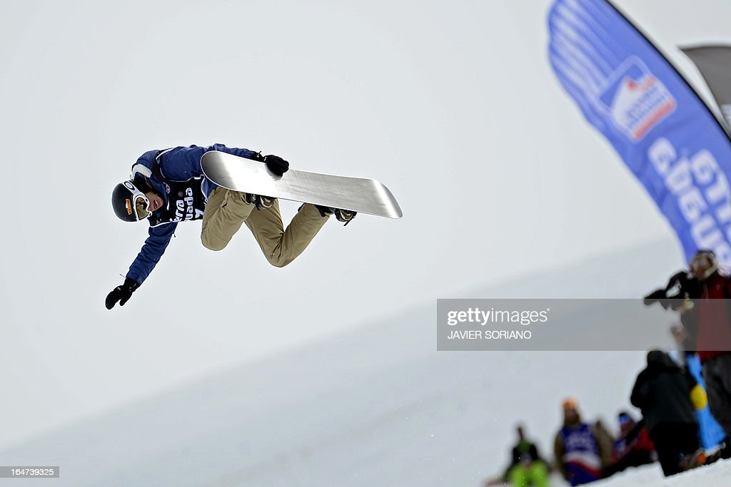 Swiss snowboarder Ursina Haller competes in the Ladies' Half-Pipe final race at the Snowboard and FreeStyle World Cup Super finals at Sierra Nevada ski resort near Granada on March 27, 2013. Ursina Haller took third place of the event. AFP PHOTO / JAVIER SORIANO