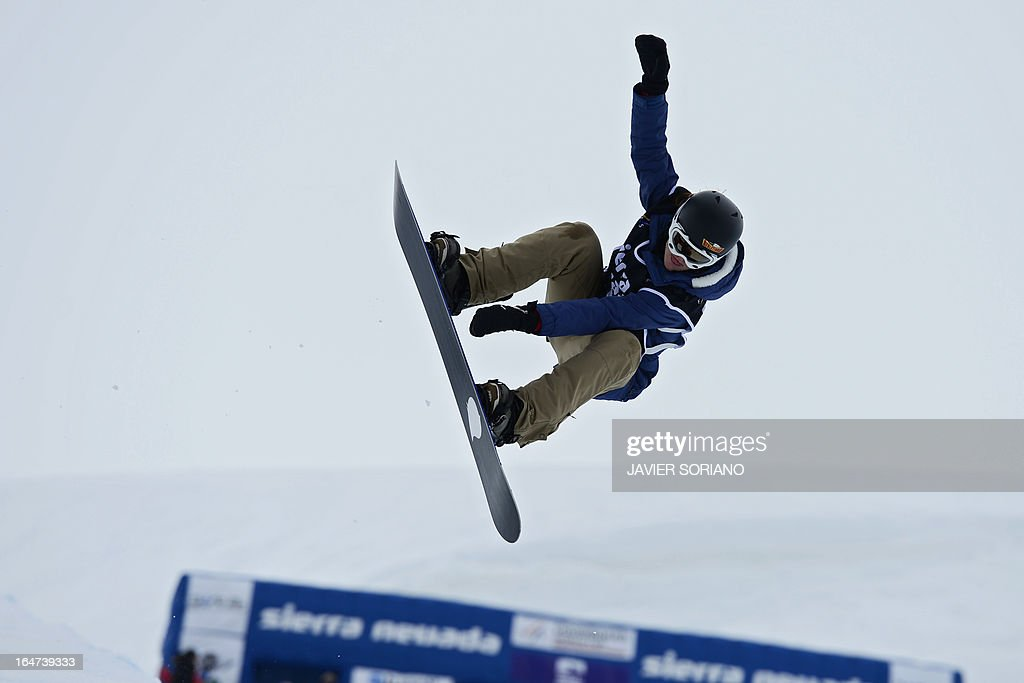 Swiss snowboarder Ursina Haller competes in the Ladies' Half-Pipe final race at the Snowboard and FreeStyle World Cup Super finals at Sierra Nevada ski resort near Granada on March 27, 2013. Ursina Haller took third place of the event.