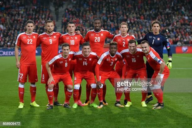 Swiss squad defender Fabian Schär forward Haris Seferovic midfielder Granit Xhaka defender Johan Djourou midfielder Stephan Lichtsteiner and...