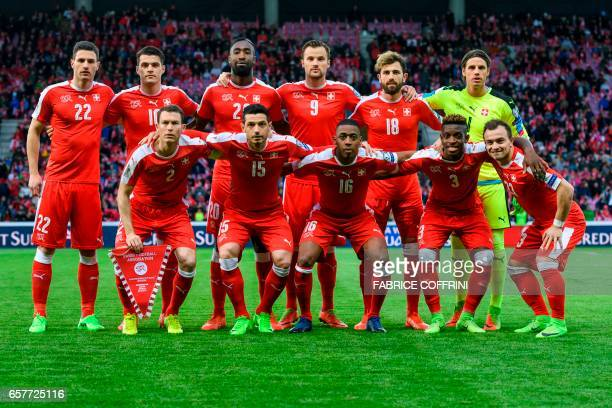 Swiss squad second row defender Fabian Schar midfielder Granit Xhaka defender Johan Djourou forward Haris Seferovic forward Admir Mehmedi and...