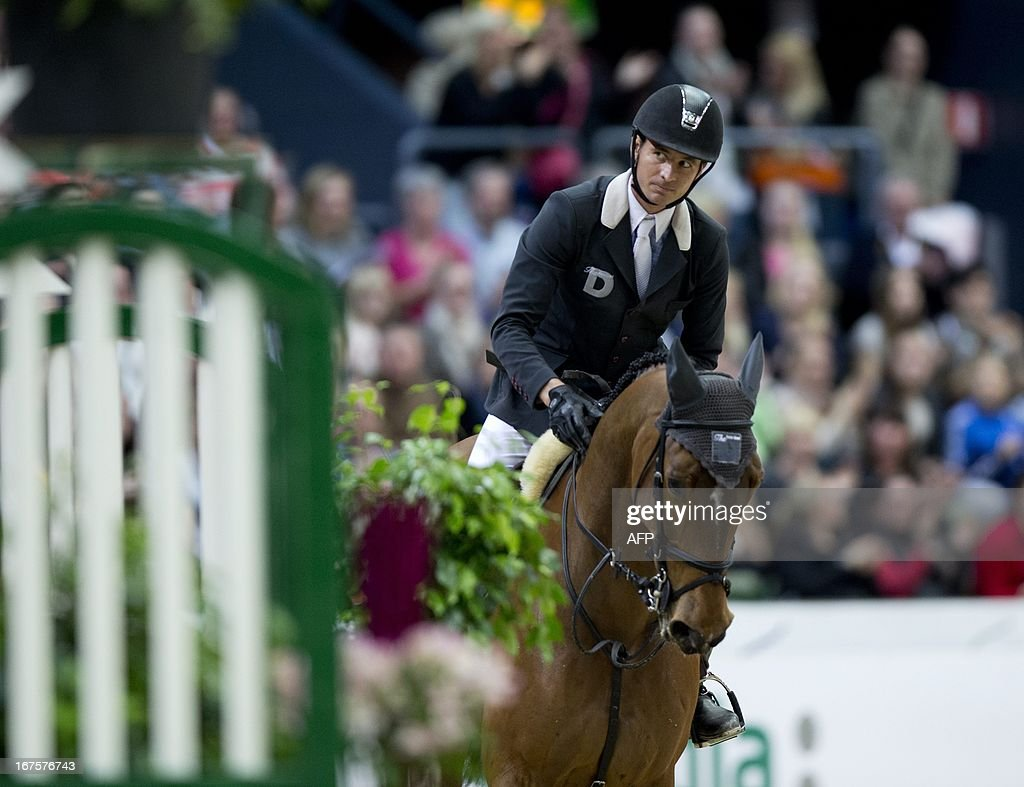 Swiss Steve Guerdat, rides his horse Nino des Buissonnets to win Rolex FEI World Cup Jumping final on April 26, 2013 during the Gothenburg Horse Show in Scandinavium.