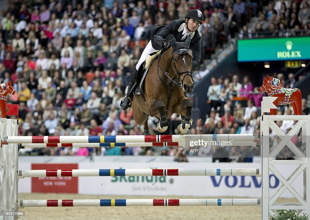 Swiss Steve Guerdat rides his horse Nino des Buissonnets to win Rolex FEI World Cup Jumping final on April 26, 2013 during the Gothenburg Horse Show in Scandinavium.