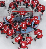 Swiss team players regroup during a IIHF International Ice Hockey World Championship preliminary round group B game between Finland and Switzerland...