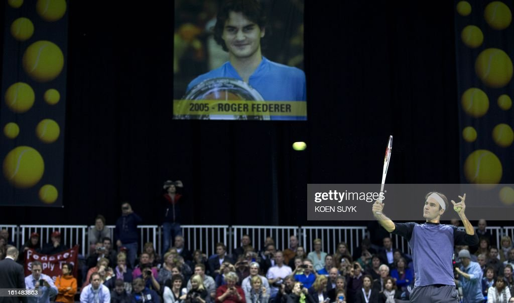 Swiss tennis player Roger Federer attends a training session on the first day of the ABN AMRO World Tennis Tournament in Rotterdam on February 11, 2013. The tournament is taking place until February 17.