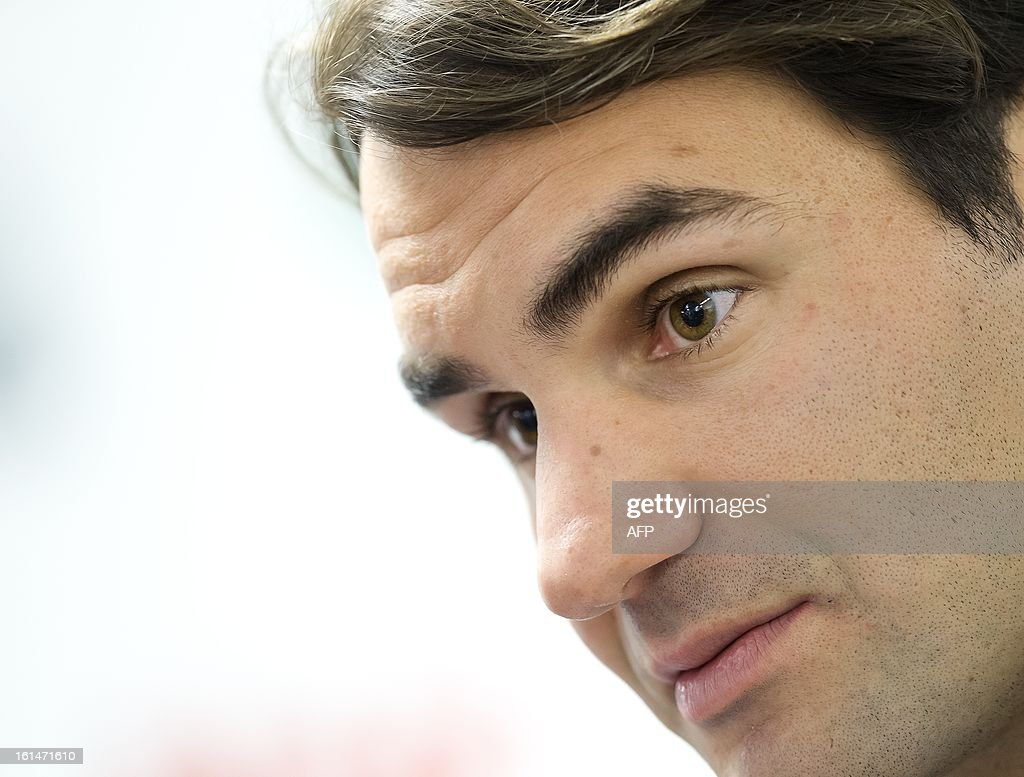 Swiss tennis player Roger Federer gives a press conference on February 11, 2013 during the opening of the Rotterdam World Tennis in Rotterdam, which ends on February 17. CZERWINSKI - netherlands out -