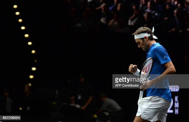 Swiss tennis player Roger Federer of Team Europe reacts during his match against Sam Querrey of the United States and Team World on the second day of...