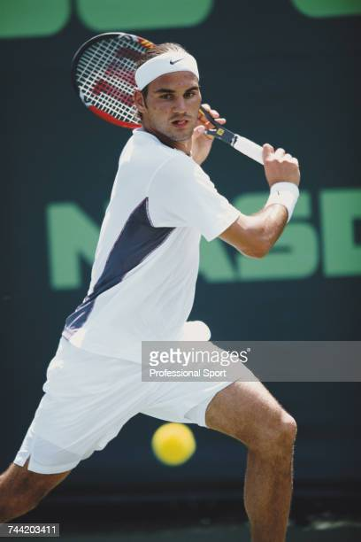 Swiss tennis player Roger Federer pictured in action during progress to reach the final of the Men's Singles tennis tournament at the 2002 NASDAQ100...