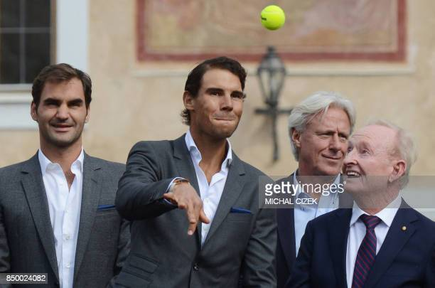 Swiss tennis player Roger Federer Spanish tennis player Rafael Nadal Swedish former tennis player Bjorn Borg and former tennis player of Australia...
