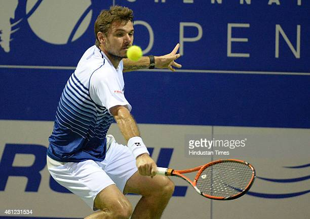 Swiss tennis player Stan Wawrinka celebrates in action against Luxembourgish tennis player Gilles Muller in quarterfinal match of ATP Chennai open at...