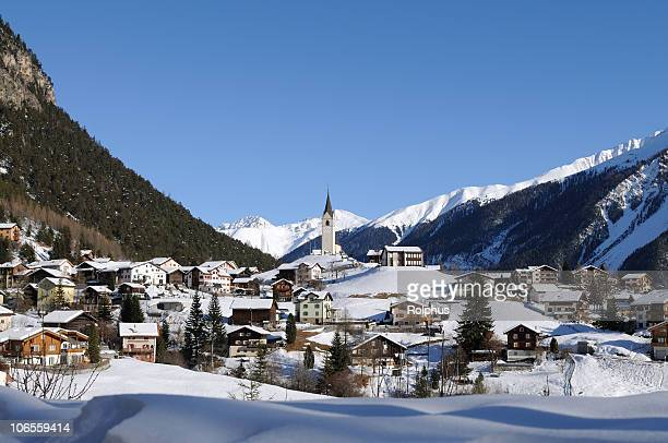 Swiss Village in Winter near Davos