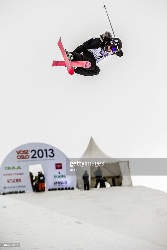Swiss Virginie Faivre competes during the qualification race for the FIS ladies Freestyle Halfpipe Skiing World Cup in Oslo-Tryvann, Norway on March 4, 2013. The actual competition will take place on March 5, 2013.