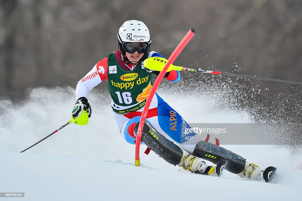 Swiss Wendy Holdener competes during first run of the FIS women's World Cup slalom in Maribor on January 27, 2013. AFP PHOTO / JURE MAKOVEC