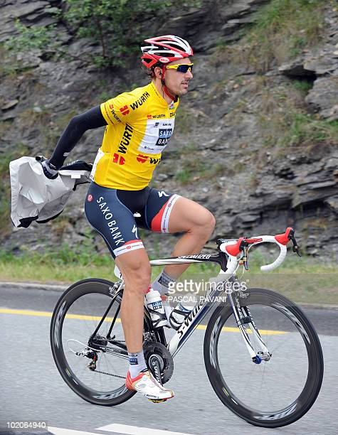 Swiss yellow jacket leader Fabian Cancellara rides during the second stage Ascona Sierre of the Tour de Suisse cycling race on June 13 2010 AFP...