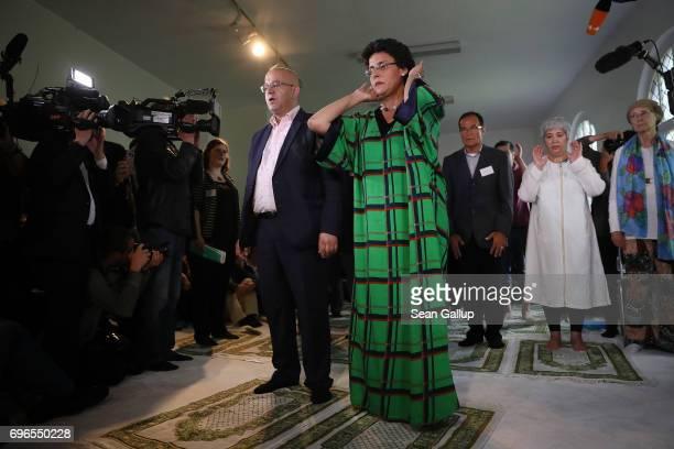 SwissYemeni politicalscientist Elham Manea and Islamic theologian AbdelHakim Ourghi launch Friday prayers during the opening of the IbnRushdGoethe...