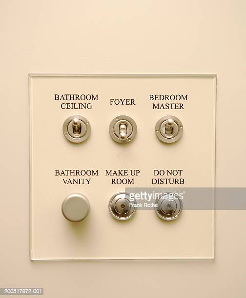 Switches and buttons on wall in hotel, close-up