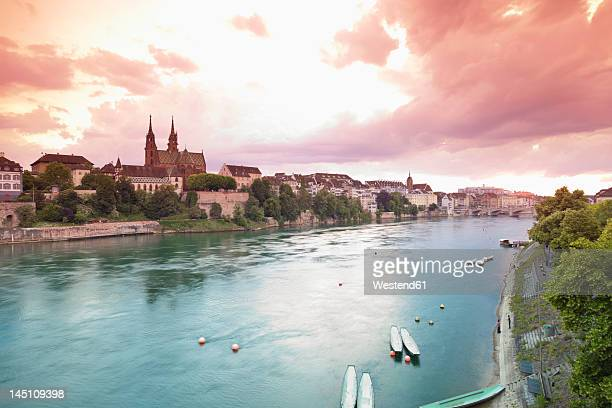 Switzerland, Basel, View of Basel Munster and old town at sunset
