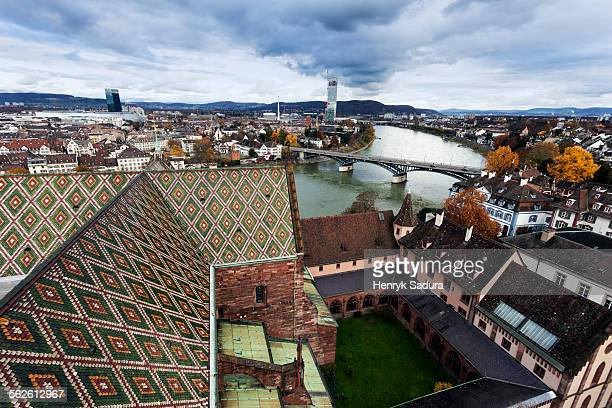 Switzerland, Basel-Stadt, Basel, Roof of Basel Minster and Rhine River
