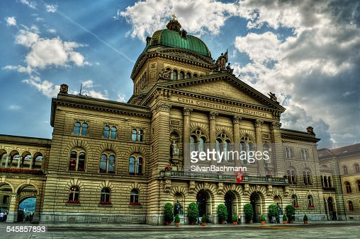 Switzerland, Bern, Cloudy sky above Federal Palace