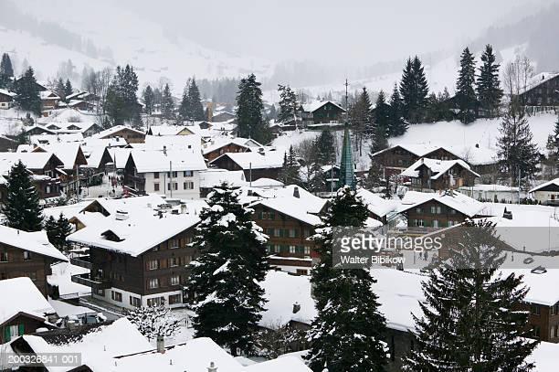 Switzerland, Bern, Gstaad, town view, winter