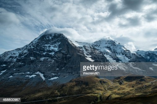 Switzerland, Berner Oberland, Eiger and Moench, right Jungfraujoch and weather station