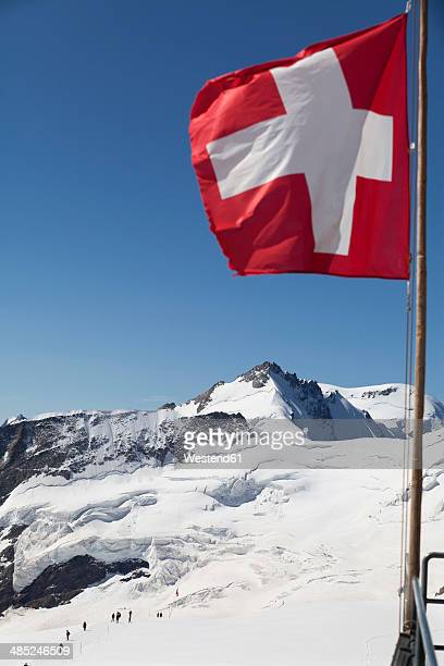 Switzerland, Bernese Oberland, Aletsch Glacier, Moutaineers at Jungfraujoch