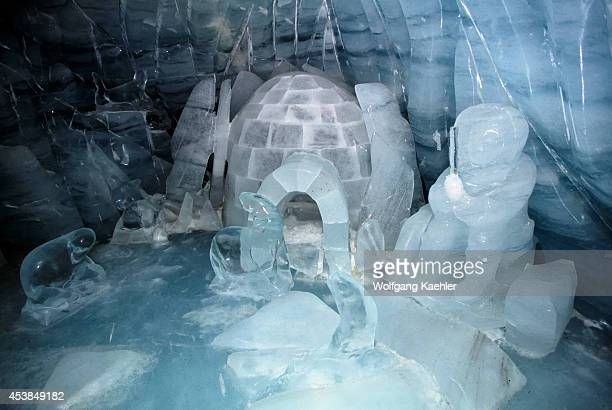 Switzerland Bernese Oberland Jungfraujoch Ice Palace Inuit Scene Ice Sculptures