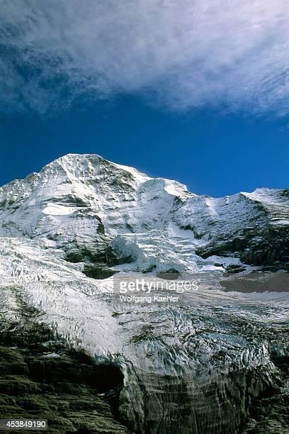 Switzerland Bernese Oberland Jungfraujoch Train Eiger Glacier With Monch Mountain In Background