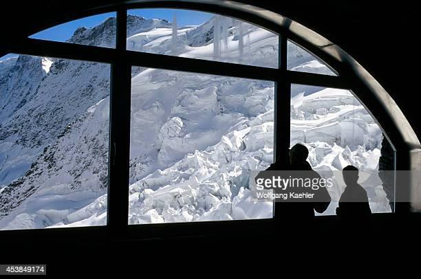 Switzerland Bernese Oberland Jungfraujoch Train View Of Glacier Window With People