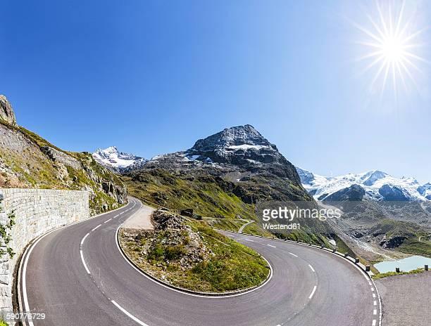 Switzerland, Bernese Oberland, Susten Pass, Gadmertal, Mountain road and Stein Glacier