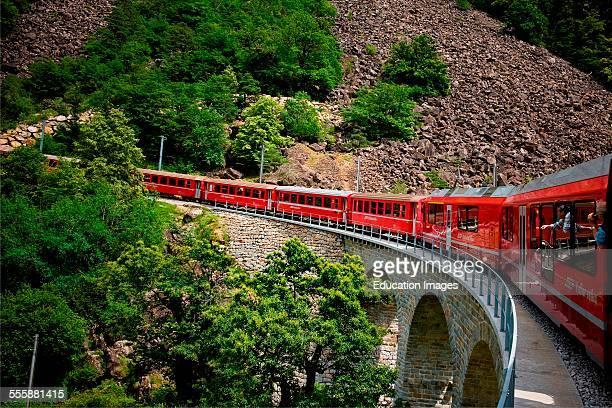 Switzerland Canton Grisons Bernina Express Brusio Viaduct